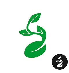 Sprout logo One shape style plant with seed and vector image vector image