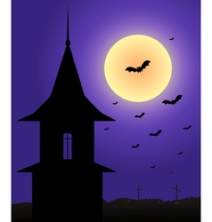 Tower in the moonlight halloween vector