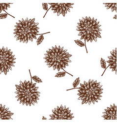 Vintage autumn dahlia pattern vector