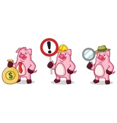 Violet Pig with money vector image