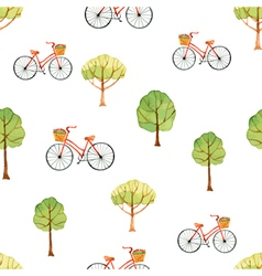 Watercolor seamless pattern trees and bike vector image