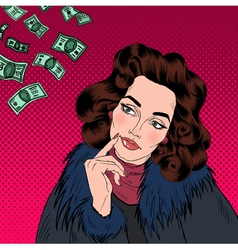 Woman Dreaming About Money Dreaming Woman vector image