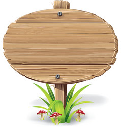 Wooden sign board on a grass with mushrooms vector image