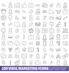 100 viral marketing icons set outline style vector image vector image