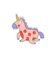 Pink unicorn bright hipster sticker vector