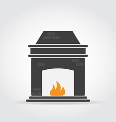Fireplace black icon vector