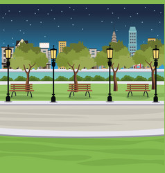 Public park bench post light river city view night vector