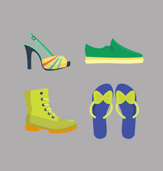 set of womens shoes flat design collection vector image