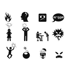 Black angry icons set vector