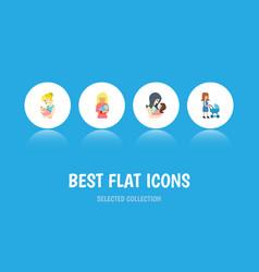 Flat icon mother set of parent kid perambulator vector