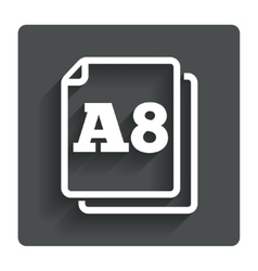 Paper size a8 standard icon document symbol vector