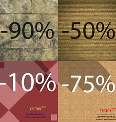 50 10 75 icon set of percent discount on abstract vector