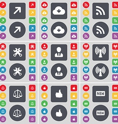 Full screen cloud rss wrenches avatar wi-fi scales vector