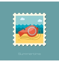 Whistle flat stamp vector