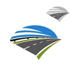 Icon of freeway road under blue sky vector