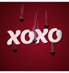 Xoxo cupid shoots bullets of hearts vector