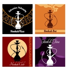 Hookah bar menu poster set vector