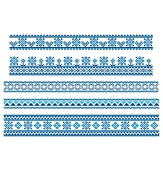 Set of embroidering pattern lines vector image