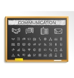 Communication hand drawing line icons chalk vector