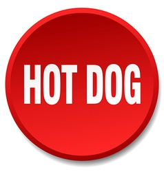 Hot dog red round flat isolated push button vector