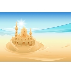 Sand castle summer holidays at sea vector