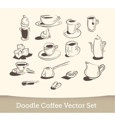 Coffee doodle set isolated on white background vector
