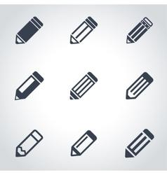 black pencil icon set vector image