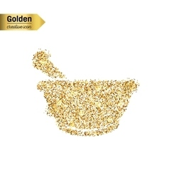 Gold glitter icon of mortar isolated on vector