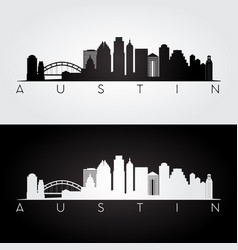 austin usa skyline and landmarks silhouette vector image