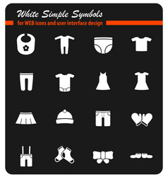 Baby clothes simply icons vector