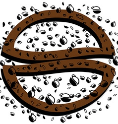Black background coffee vector image