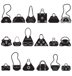 Black icons female bags vector image vector image