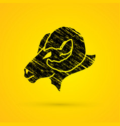 Black sheep big horn head ovis face vector