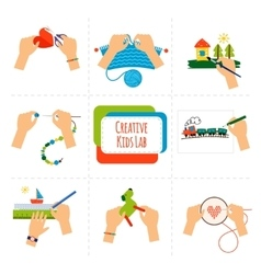 Creative kids hands vector image vector image