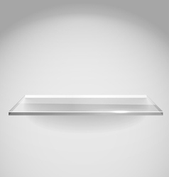 Empty advertising glass shelf withh a spot lignt vector