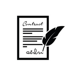 Feather pen contract vector
