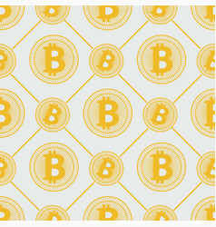 Gold bitcoin pattern cryptocurrency with lines vector