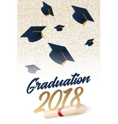 graduation 2018 poster with hat vector image