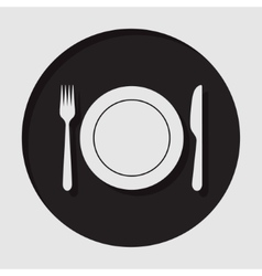 Information icon - cutlery fork knife with plate vector