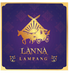 Lanna lampang carriage purple background im vector