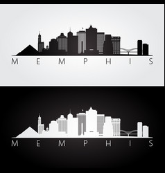 memphis usa skyline and landmarks silhouette vector image
