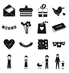 Mother Day black simple icons vector image vector image