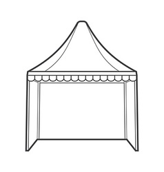 Outline folding tent marquee vector