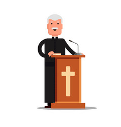 Pastor character standing with cross bible vector