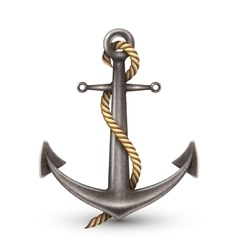 Realistic anchor with rope vector