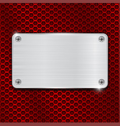 red perforated background with metal brushed plate vector image vector image