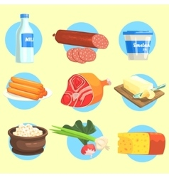 Set of farm product colorful stickers vector