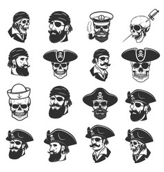 set of pirate heads and skulls design elements vector image