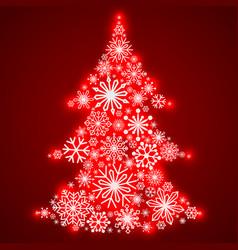 snowflakes in the form of a christmas tree winter vector image