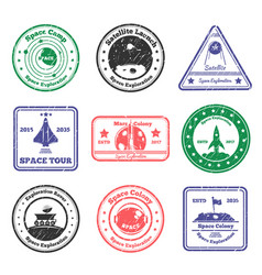space tour stamps set vector image vector image